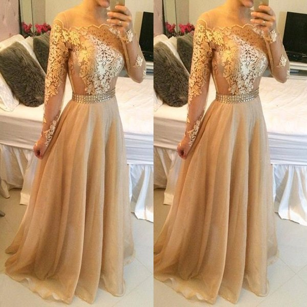 2017 Gold Champagne Sexy Lace Long Sleeves Prom Dresses Bateau Pearls Waist Long Lace Appliques Organza Vestidos Evening Dresses BO7979