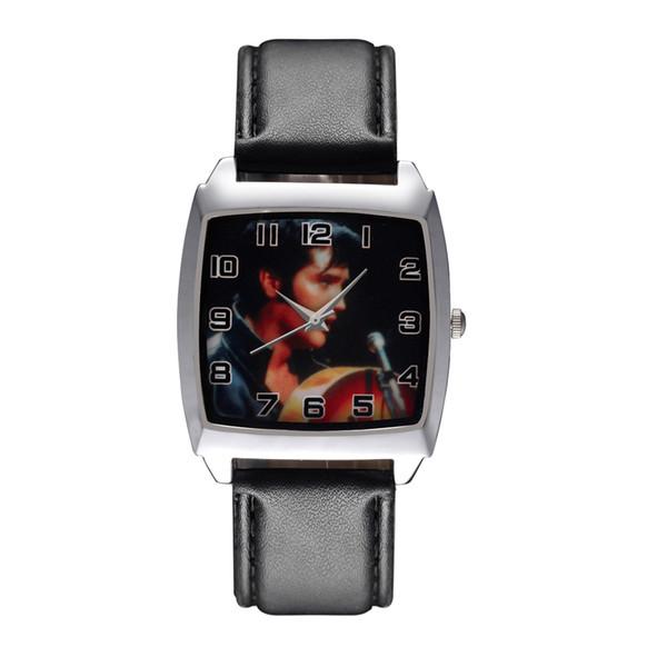 Cartoon Boy women's girl children students Elvis Presley Rectangle dial Black leather strap quartz wrist watch 01