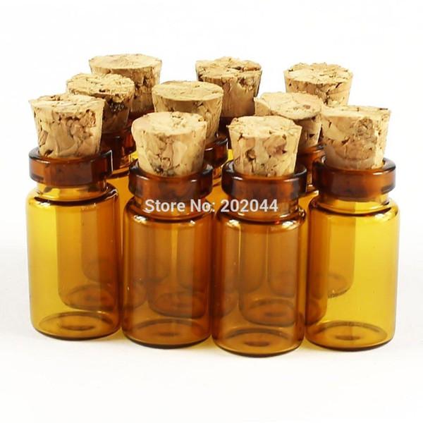 Vente en gros - 50pcs 1 ml 11 * 22mm 0.43 * 0.86 dans de petites bouteilles en verre Flacons avec bocal en liège Bouchon de liège décoratif minuscule Wising Glass Bottle