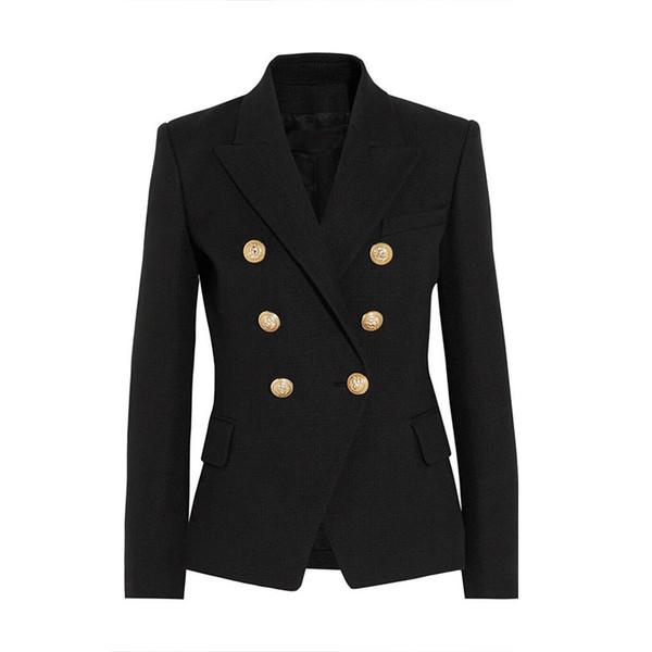 YÜKSEK KALITE Yeni Moda 2018 Pist Stil kadın Altın Düğmeleri Kruvaze Blazer Giyim Artı boyutu S-XXL