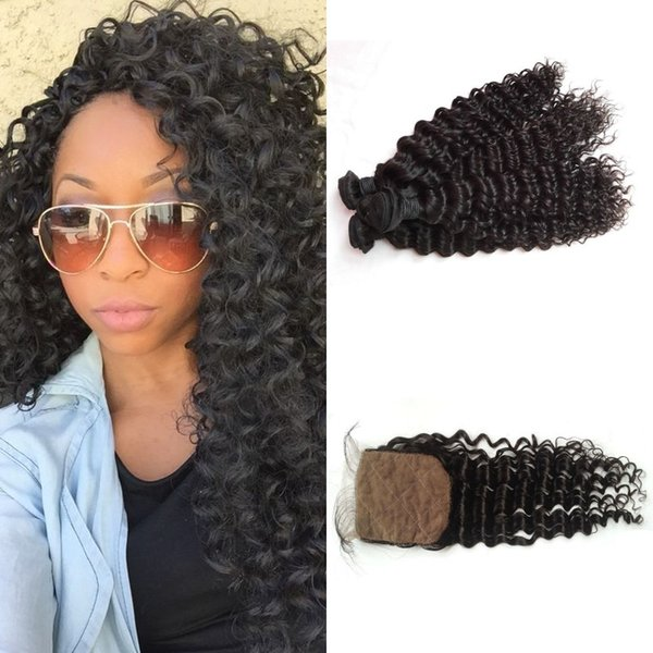 Unprocessed Human Hair Extensions Virgin Malaysian Deep Curly Hair Weaves With Closure Silk Top 4x4 Bleached Knots