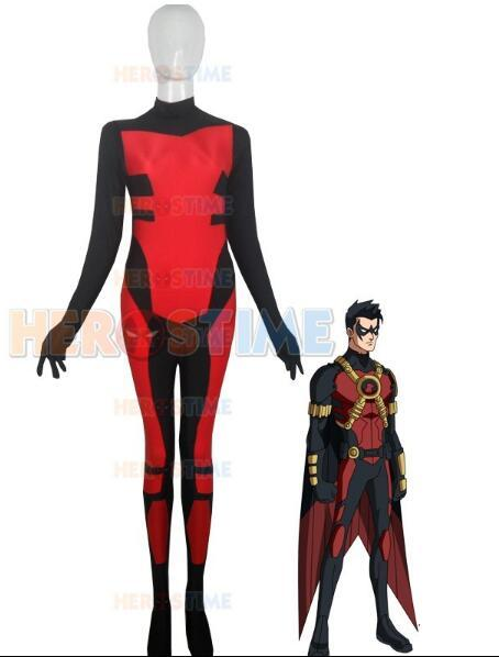 (SUP931) красный робин костюм тим дрейк спандекс лайкра комбинезон косплей супергерой зентаи хэллоуин ну вечеринку