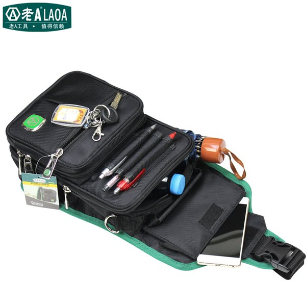 Wholesale- LAOA Multifunction Messenger Bag Cross Body Electrician Hardware Mechanic's Canvas Tool Bags For Store Tools