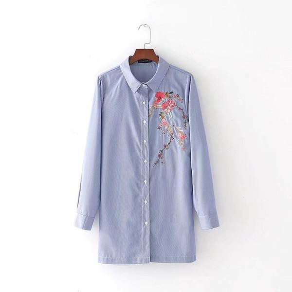 2017 mujeres de la manera elegante bordado hendidura lateral camisas de rayas Blusas de manga larga Casual Tops sueltos chemise femme blusas