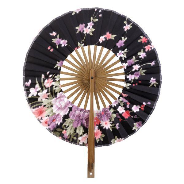 Wholesale- New Hot Sale Japanese Sakura Flower Windmill Silk Bamboo Circle Vintage Folding Hand Fan Party Wedding Favours Free Shipping