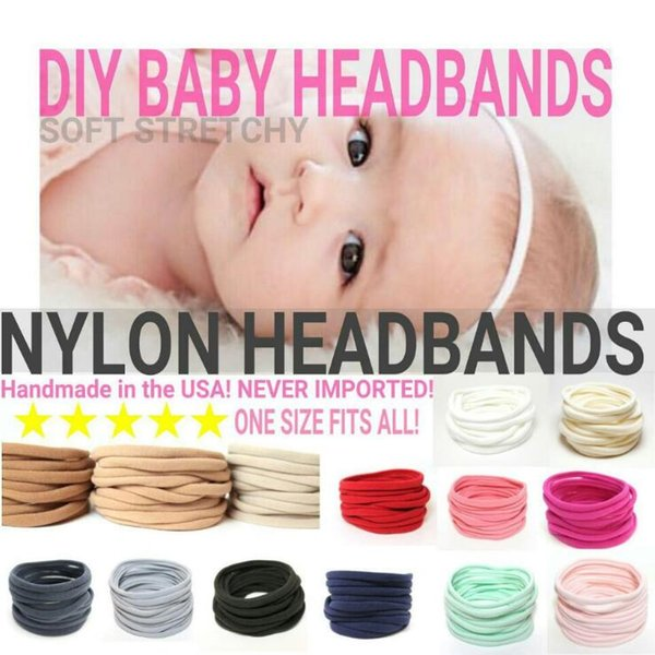Baby Girls Soft Spandex Nylon Headbands Skinny Very Stretchy DIY Headband Accessories Infant Toddler Headwear Childrens Hair Accessories