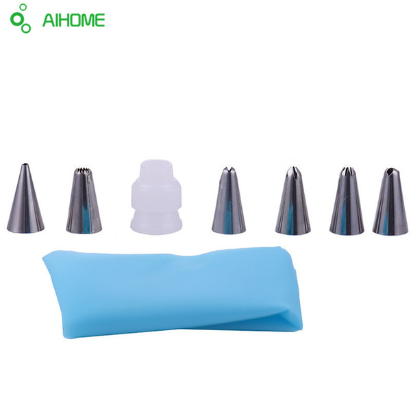 7pc/set Silicone Icing Piping Cream Pastry Bag with 6pcs Stainless Steel Nozzle Sets Cake DIY Decorating Baking Tool Bakeware