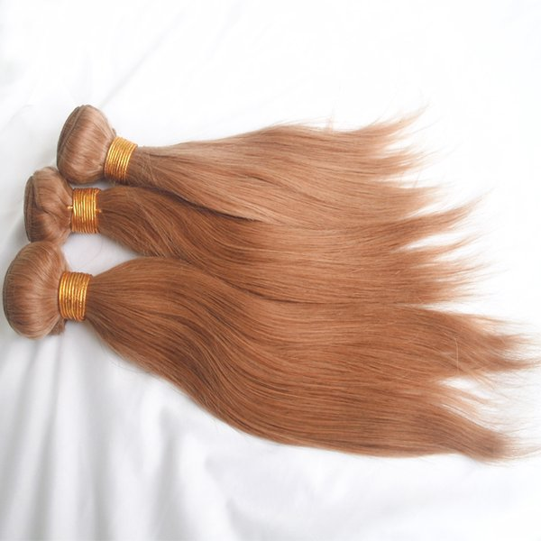 Brazilian Straight Hair Weaves Cheap Honey Blonde Virgin Remy Human Hair Bundles Extensions 3pcs Lot 27 Color 10-26 inch