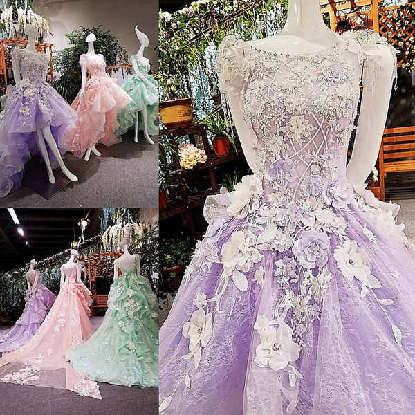 LS00167 backless cap sleeve 3D flower patterns short front long back casual maxi prom party dress 2017 three different colors
