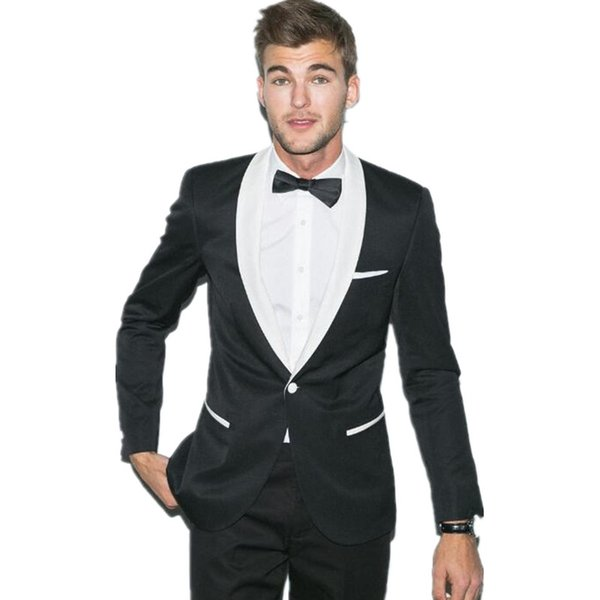 The latest design men's wedding suits tuxedo black jacket with white collar custom made suits men groom wear suits(jacket+pants)