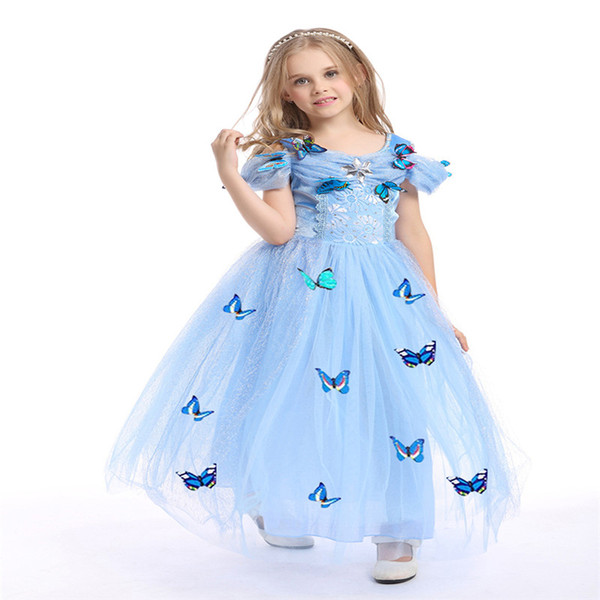 best selling 2017 snowflake butterfly cinderella dress fancy dress costumes for kids blue cinderella gown Halloween baby girl dress in stock
