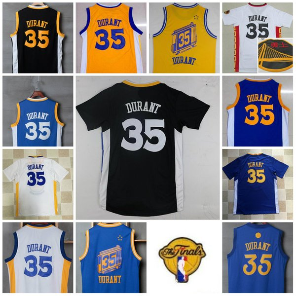 best loved 707b2 4edb5 2019 Mens 2017 Finals Patch The City Blue Yellow 35 Kevin Durant Jersey  Black White Kevin Durant Basketball Chinese New Year Christmas Jerseys From  ...