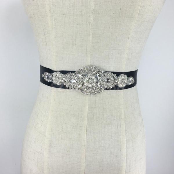 Wholesale- Fashion Black Crystal Rhinestone Flower Bride Wedding Party Sash Bridal Black Dress Belt