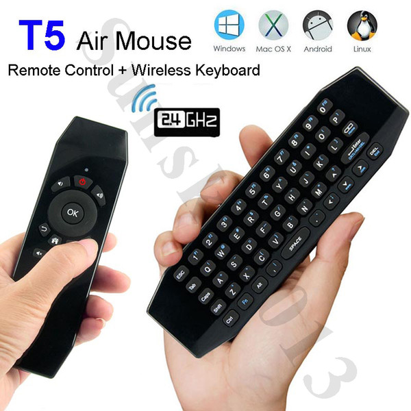 Smart Remote Control Mic Air Mouse Mini Keyboard T5 Wireless Keyboards for Android TV Box Mini PC IPTV 360 Xbox Gamepad PS3 Linux Mac OS