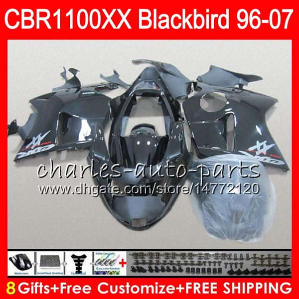 Body For HONDA Blackbird CBR1100 XX CBR1100XX 02 03 04 05 06 07 81NO44 gloss black CBR 1100 XX 1100XX 2002 2003 2004 2005 2006 2007 Fairing
