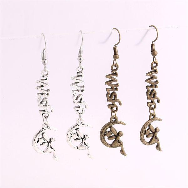 12pcs/lot Metal Alloy Zinc Letter Wish Connector Moon Elf Pendant Charm Drop Earing Diy Jewelry Making C0722