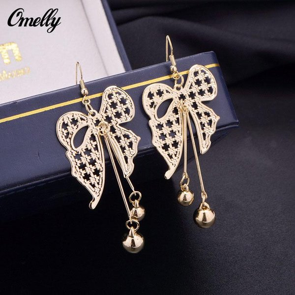 Gothic Style Bow Hollow Out Dangle Chandeler Earrings Jewelry Butterfly 18K Gold Silver Filled Earring for Lay Girl Party Jewelry Wholesale
