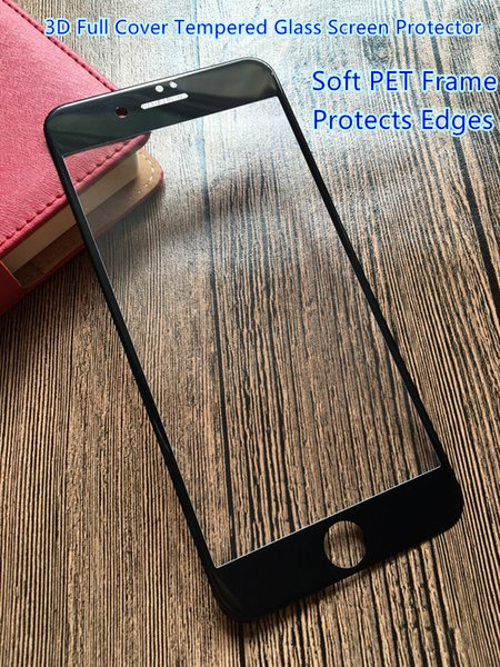 For Iphone 6 Full Cover 3D Soft Edge Tempered Glass Screen Protector White Black Color Protectors Factory Foam Pack--YH0236