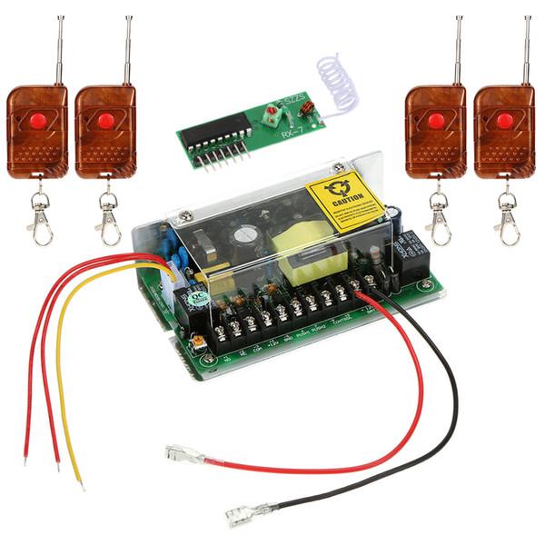Wholesale- AC100-240V Eingang 12V / 5A Ausgangsstromversorgung Türzugriffskontrollsystem mit 4pcs Fernbedienung Controller Support Lock Zeitverzögerung