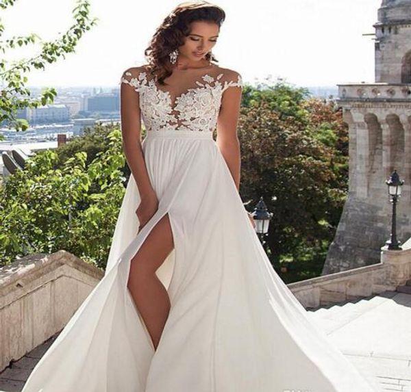 top popular Cheap Simple Beach Split High Side Wedding Dresses 2017 Sexy Cap Sleeve Boho Chiffon Lace Appliques Bridal Gowns Robe De Mariage 2019