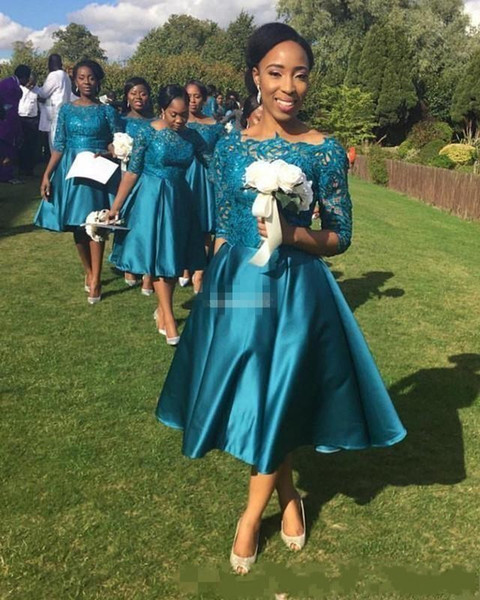 Short Bridesmaid Dresses 2018 Vintage Cheap For Weddings Teal Satin Lace Illusion Half Sleeves Tea Length Plus Size Maid Of Honor Gowns
