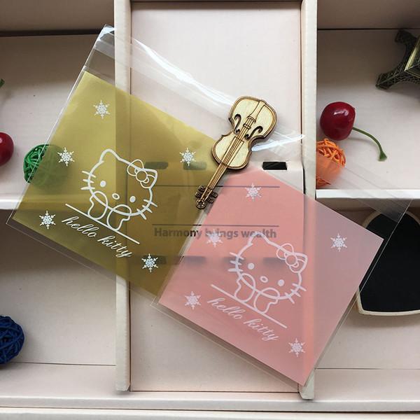 25 pcs/lot 7 X 7 +3 cm kawai Pink kt cat adhesive bag cookies diy Gift Bags for Christmas Wedding Party Candy Food Packaging bag