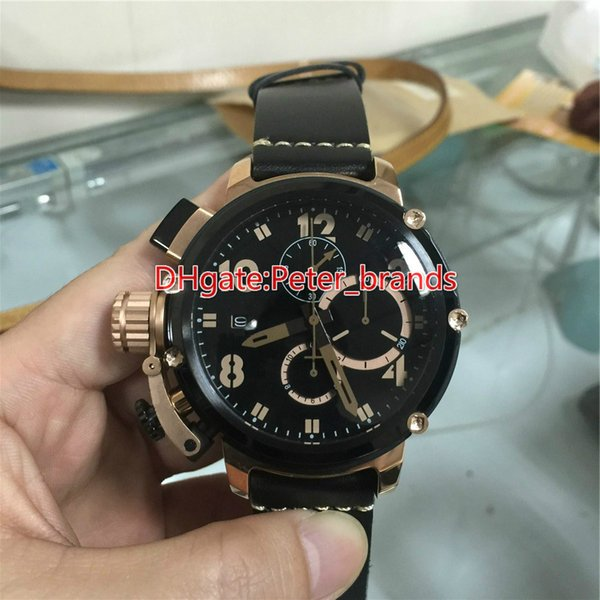 Rose gold csae black bezel stainless steel fashion brand watches for men leather strap water resistant diameter size 50mm luxury quartz