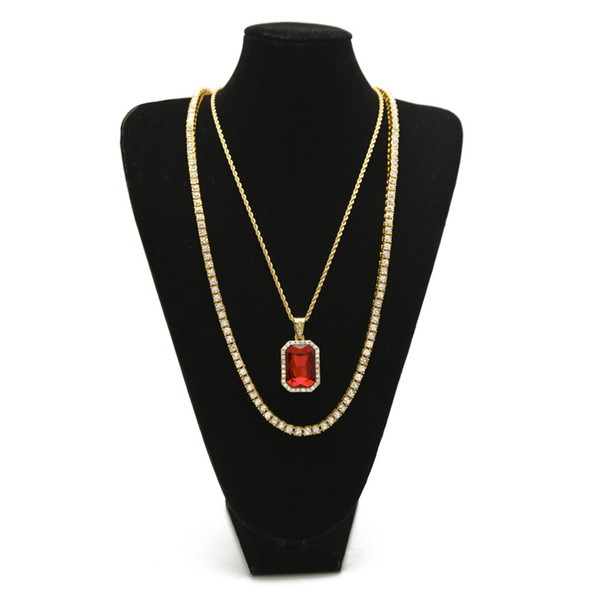 Men Hip hop Necklace 1 Row lced Out Rhinestone Chain With Square Ruby Blue Pendants Necklaces Jewelry Set