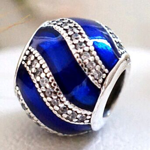 2016 Winter Loose Bead 925 Sterling Silver Blue Adornment Charm Fits European Pandora Jewelry Bracelet Necklace & Pendant Christmas Gifts