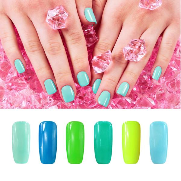 Al por mayor- Sonriendo ángel verde azul esmalte de uñas de gel para la manicura francesa UV / LED esmalte de gel de larga duración empapa la laca de gel Gelpolish