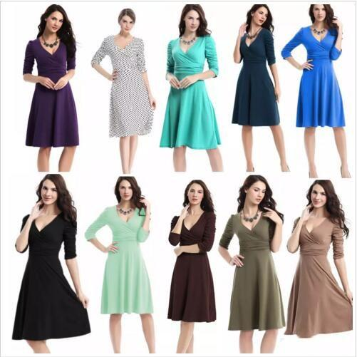 Dresses OL Work Dress Business Cocktail Dresses Women Casual Plus Size Dress High Waist Vintage Dress Fashion V Neck Dresses Clothing B2532