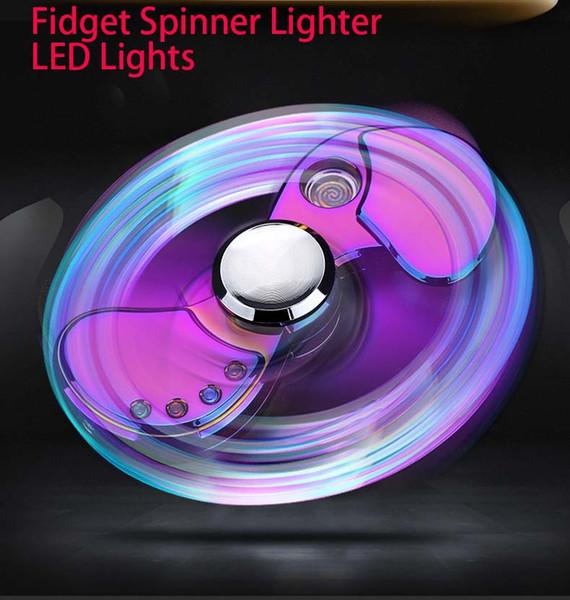 Hot Fidget Spinner Cigarette Lighter LED Hand Spinner Aluminium Alloy USB Charger Functional Charging USB Metal Gyro Finger Tip Toy For Men