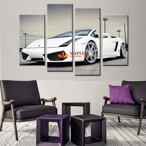 2017 4 panel canvas wall pictures white sports car wall art