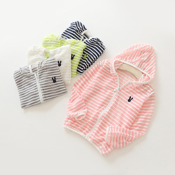 Summer Children Coat Sun Protective Clothing Boys and Girls Stripe Hooded Cartoon Printing Light Weight Breathable Jacket for Kids