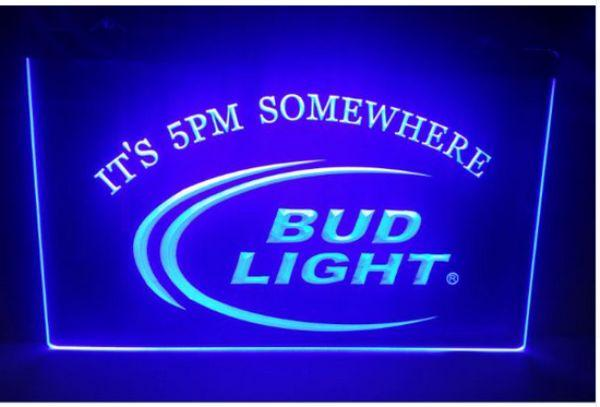b08 Bud Light São 5 da tarde Em algum lugar bar de cerveja pub club Sinais em 3D LED Neon Light Sign