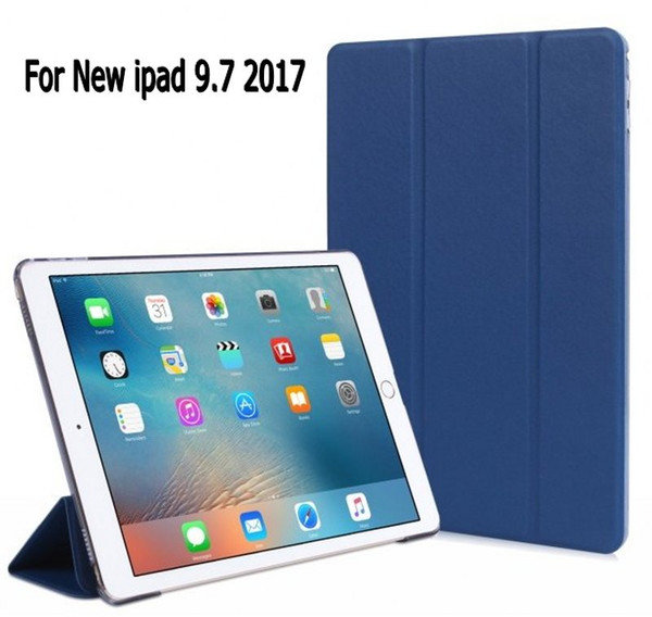 Wholesale- Fashion Business 3 folded Flip book PU transparent PC back stand holder case smart cover for New iPad 9.7 2017 + screen film