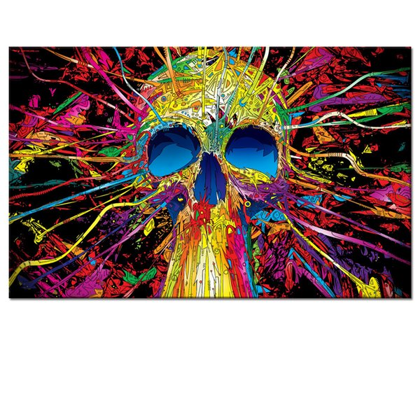 Modern Decorative Canvas Prints Skull Cartoon Picture Printed on Canvas Fashion Abstract Canvas Printing Artwork Inner Decoration