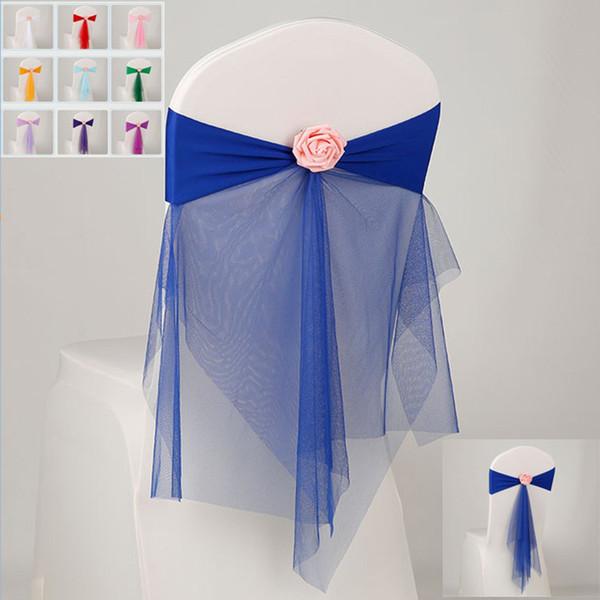 Bowknot diseñó la silla de la cinta No-tie Bow Sash Hotel banquete de la boda cubierta de la silla silla de nuevo decoración 10 colores