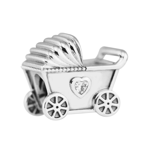 Pandulaso Baby's Pram Clear CZ beads fit pandora bracelet charms Sterling silver jewelry for woman jewelry making baby car beads