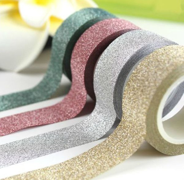 top popular 2016 New 5M DIY Self-adhesive Glitter Washi Paper Tape Sticker Wedding Birthday Festival Decoration Home Decor 2019
