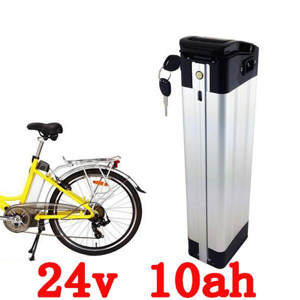 Nueva 24V 10AH batería de ebike de plata ebike Batería de iones de litio para bicicleta eléctrica, batería recargable con BMS y cargador