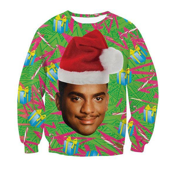 Wholesale- Carlton Crewneck Sweatshirt Women Men Christmas Sweatshirt Fresh Prince of Bel-Air With Christmas Hat Print Funny 3d Sweatshirts
