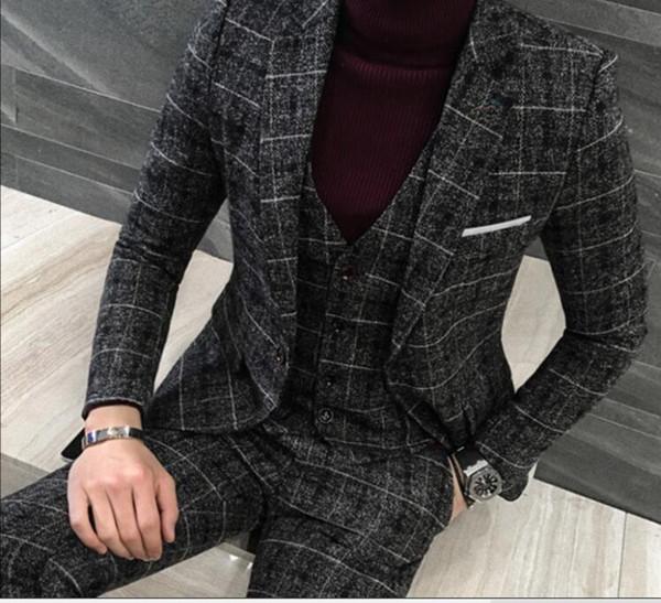 (jacket+vest+pants)male England style gentleman plaid woolen suit blazer wedding groom 3 pieces set fashion men slim suit dress studio shoot