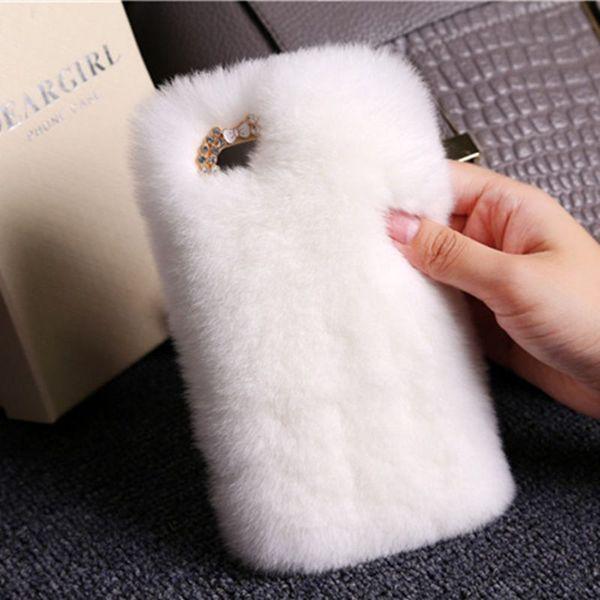 For Samsung galaxy a5 a7 j5 j7 2017 2018 grand prime pro Luxury Cute Fashion Exclusive Soft Rabbit Fur Pompom bling diamond rhinestones case
