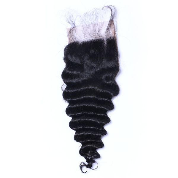 Onda profunda Curl Cierre de encaje Nudos blanqueados Brasileño rizado profundo Cierre del cabello humano Libre Medio 3 Parte 100% Cabello humano