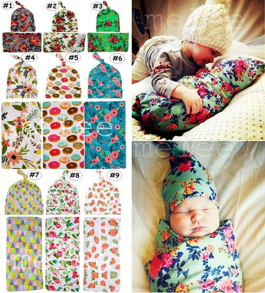 top popular INS Infant Swaddle Blanket Knot Hat 2pcs Set Newborn practical Shower Gift flower print wrapped Beanie Photography props Robes 23Styles 2021