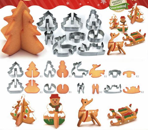 8 unids / set DIY navidad herramienta de hornear de acero inoxidable 3D galleta sólida combinación molde escenario de navidad decoración