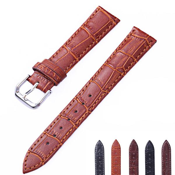 Leder Uhren Band Strap Braun Schwarz Frau Mann Uhrenarmbänder Uhr Gürtel Hochwertige Armband Größe 10mm-22mm der beste Preis China Großhandel
