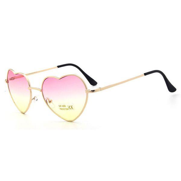 Hot Sun glasses Women Color Coated Lenses New heart Shaped Sunglasses Elegant Lady Sunglasses Love Shape Eyeglasses 11 Color Gold frame