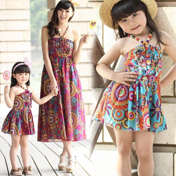 f112816b28 Mother Daughter Matching Clothes Summer Maxi Dresses Bohemian Style Cotton Kids  Clothes Long Dresses Family Clothing